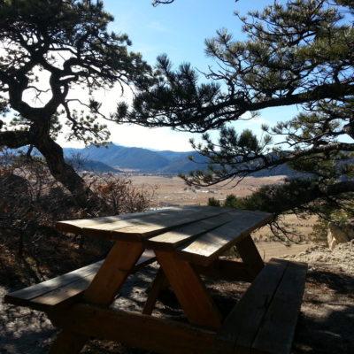 Park bench along the upper mesa