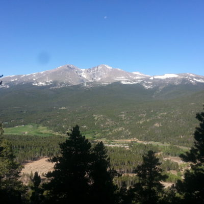 View of Longs Peak and Mt Meeker from the Twin Sisters trail