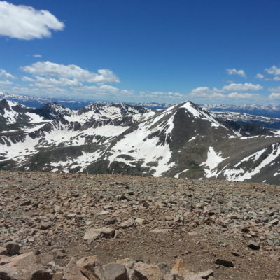 Mt Bross summit view with Mt Democrat right of center