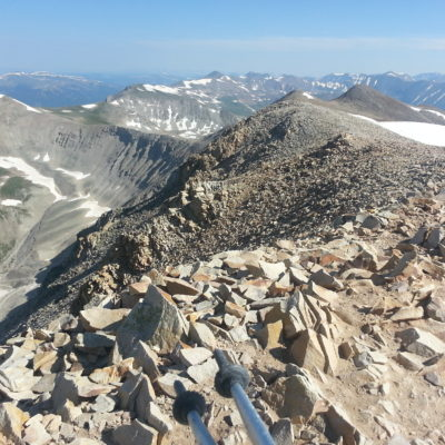 Summit ridge - Dyer Mountain on the left. On the right Quandary Peak and Northstar Mountain with Bross, Democrat, Lincoln and Longs in the far right background.