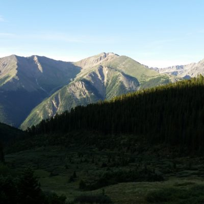 Black Cloud trail - Rinker Peak (13,789') in the middle and La Plata Peak (14,360') on the right