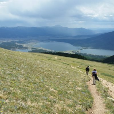 Hiking down the South Elbert trail - Twin Lakes in the background