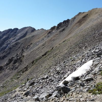 Heading up the scree to the ridge