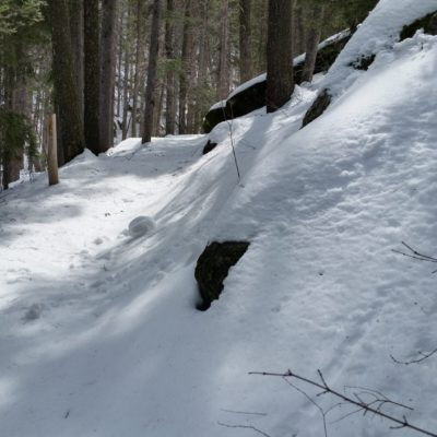 A snow roller along the trail