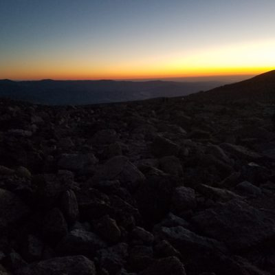 First light from the boulder field - looking back east 6 miles into the hike.
