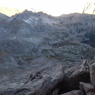 View through the keyhole - looking down thousands of feet into Glacier Gorge.