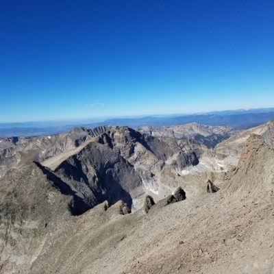 View from the Narrows - Pagoda Mtn. (13,497') on left and Chiefs Head Peak (13,579') in center.