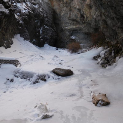 Walked on a frozen stream into the canyon