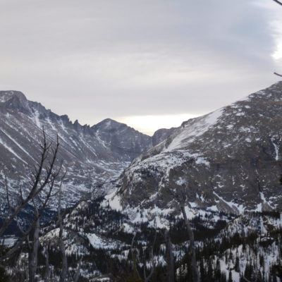 Longs Peak (left), Pagoda Mountain (center distance), and Thatchtop Mtn on the right