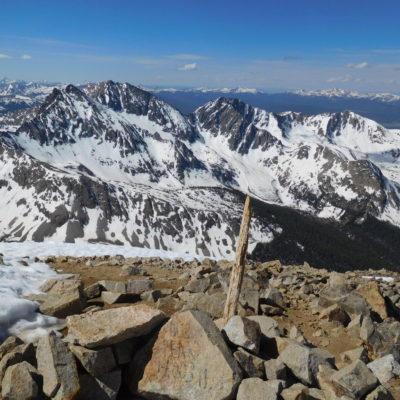 View south of the Three Apostles from the summit of Huron Peak