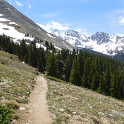 Looking back as I head down - near 11,700' - Three apostles in the background