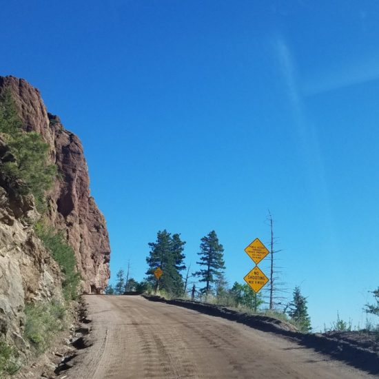 Old Stage road climbing  toward the west side of Cheyenne Mountain