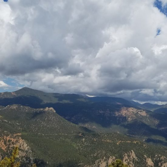 Pikes Peak view obscured by clouds