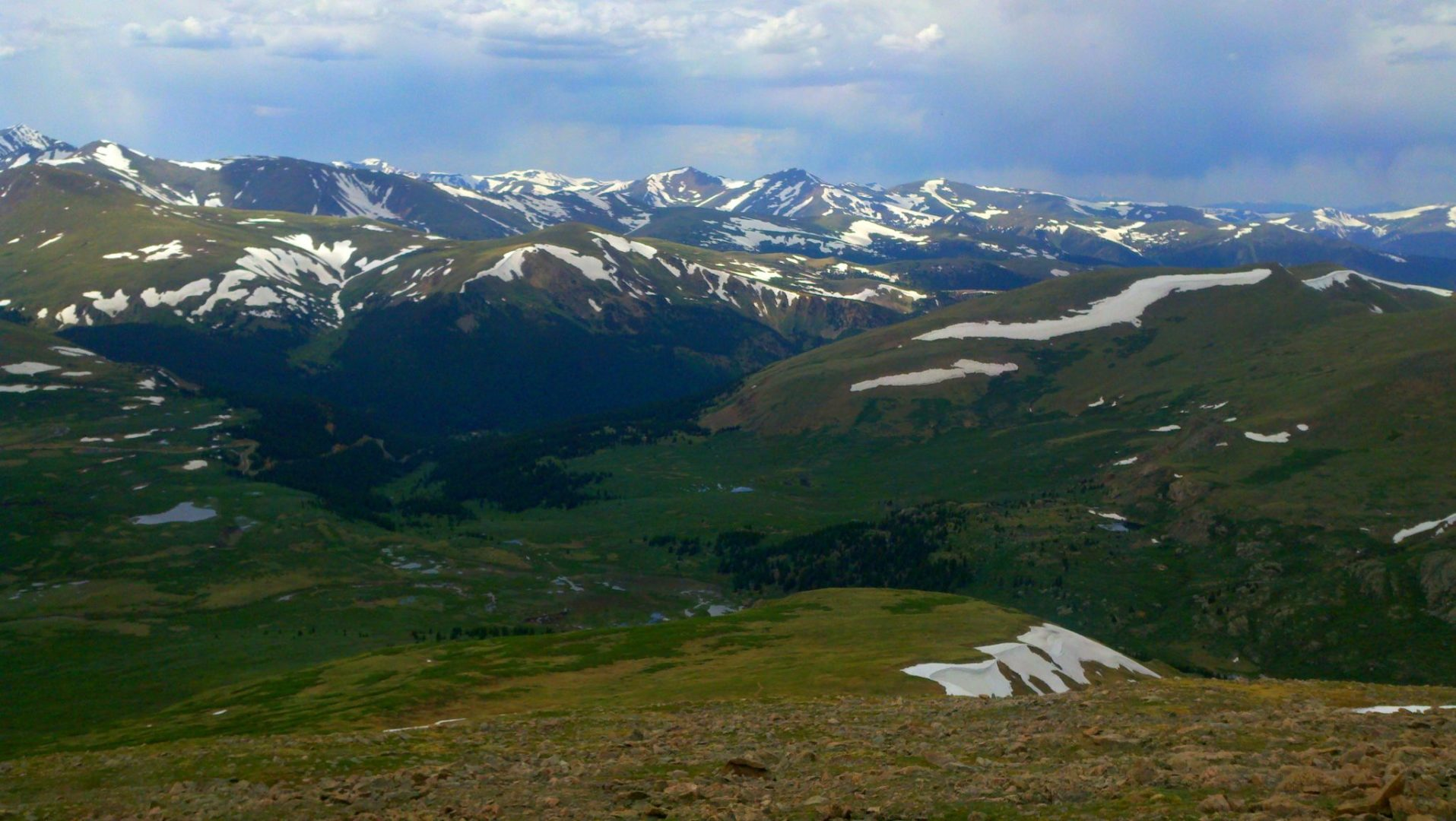 Mt Parnassus (13,574') and Bard Peak (13,647') in the middle, and Englemann Peak (13,368') is the flat ridge heading to the right