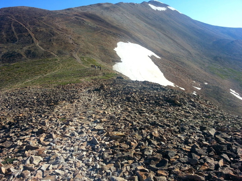 Ridgeline trail to Mt Sherman's summit