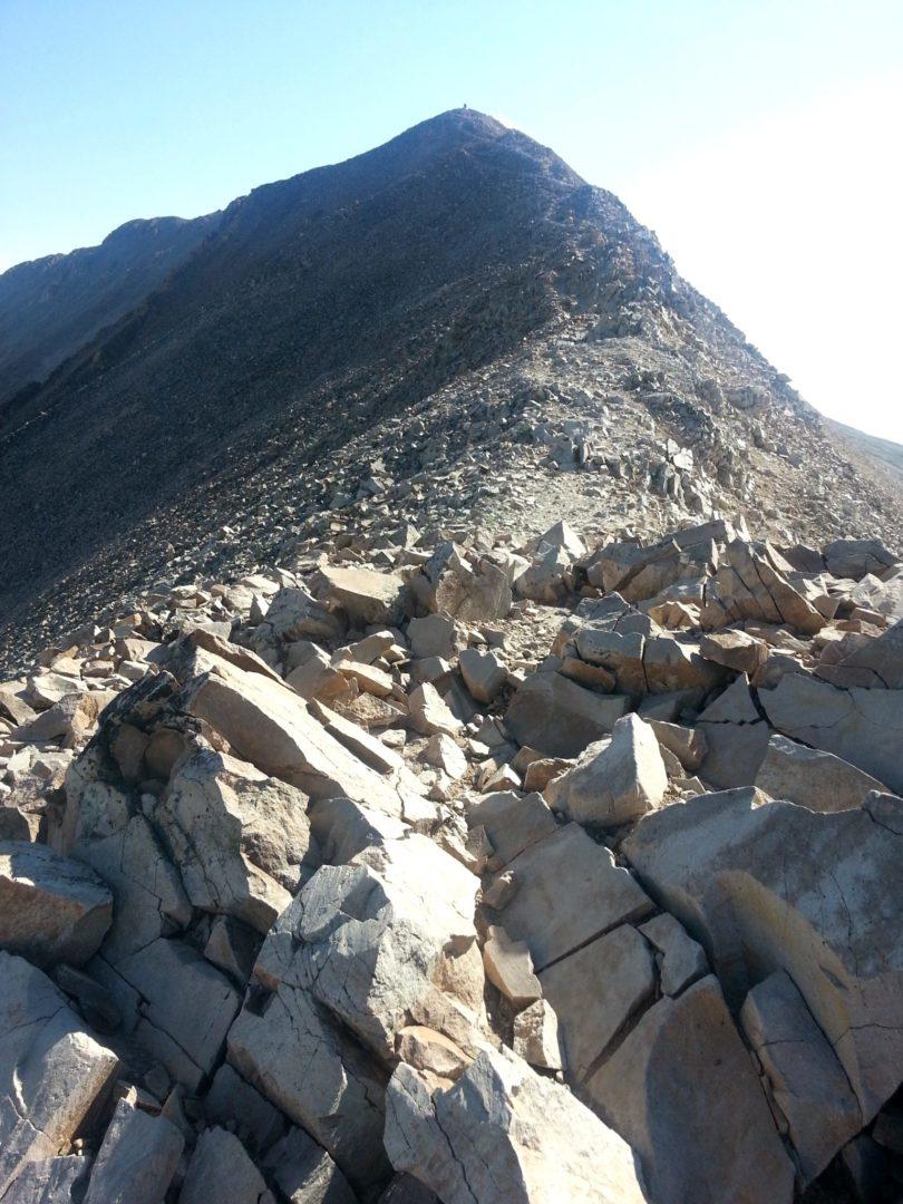 After gaining the ridge, a long ridgeline