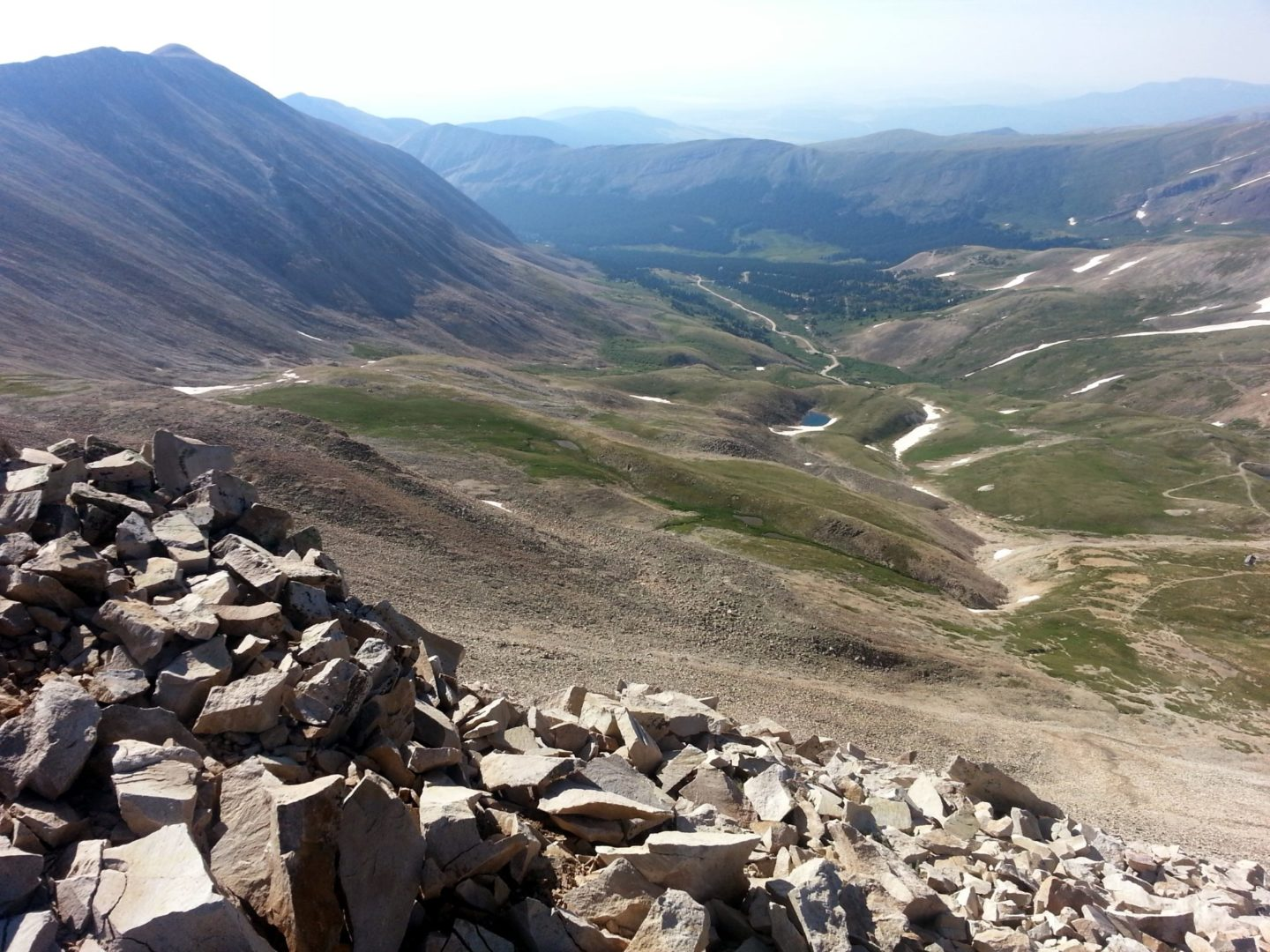 View into the valley with White Ridge (13,684') on the left