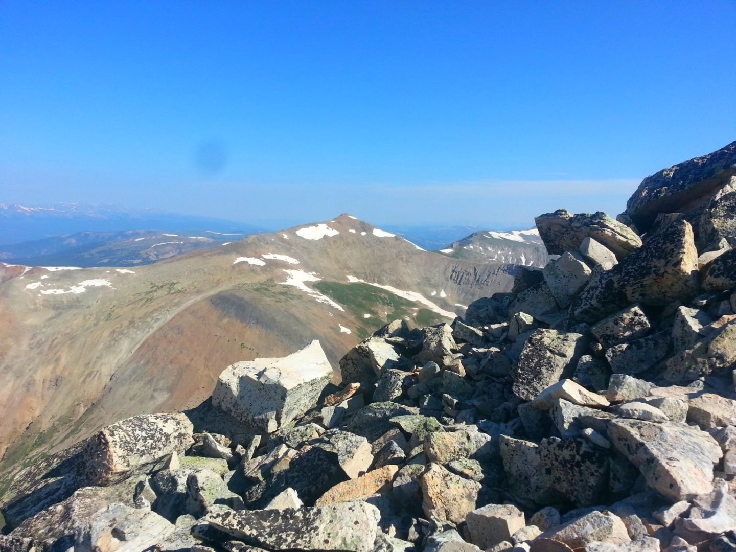 Looking over the ridge at Dyer Mountain (13,862')
