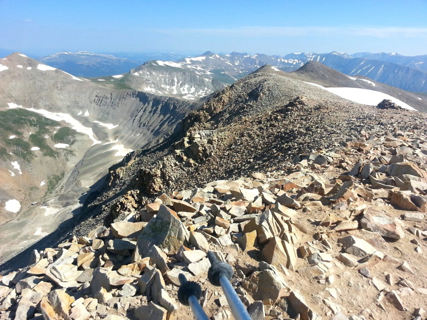 Summit ridge - Dyer Mountain on the left. On the right Quandary Peak and Northstar Mountain with Bross, Democrat, Lincoln and Longs in the far right background