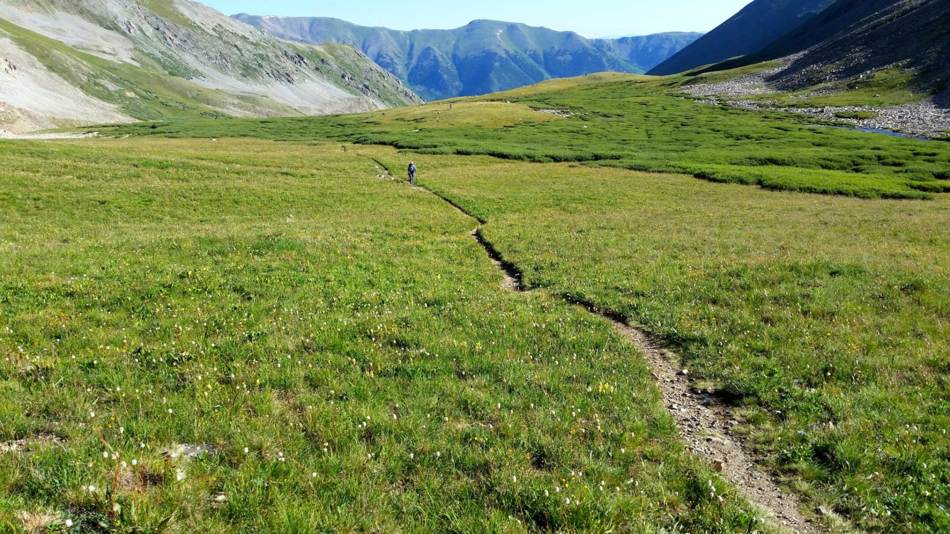 After a hard climb into the gulch, easier hiking for a while