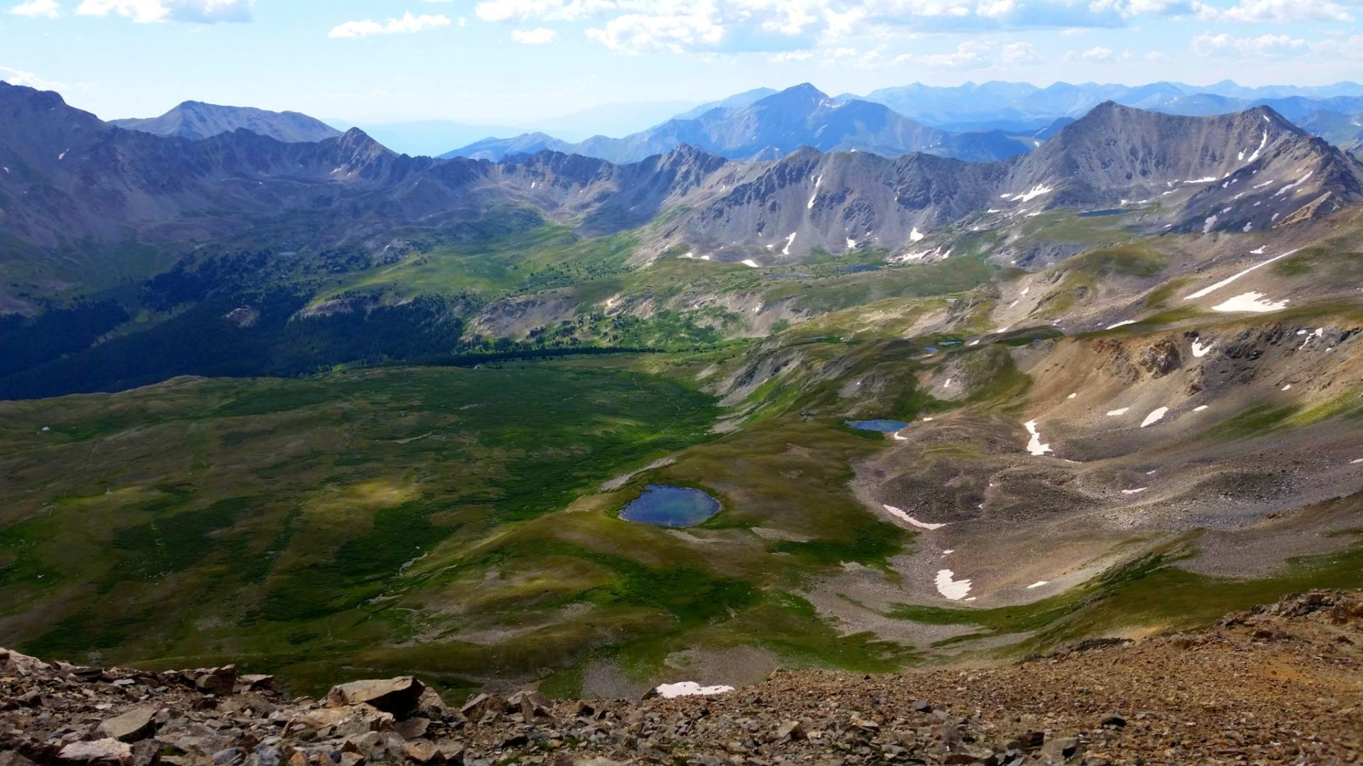 From left - Mt Columbia (14,073') over the ridge, Mt Yale (14,196') middle front, Mt Princeton (14,197') further back just left of Mt Yale, Mt Antero in the distance, Mt Shavano and Tabeguache Peak towards the right