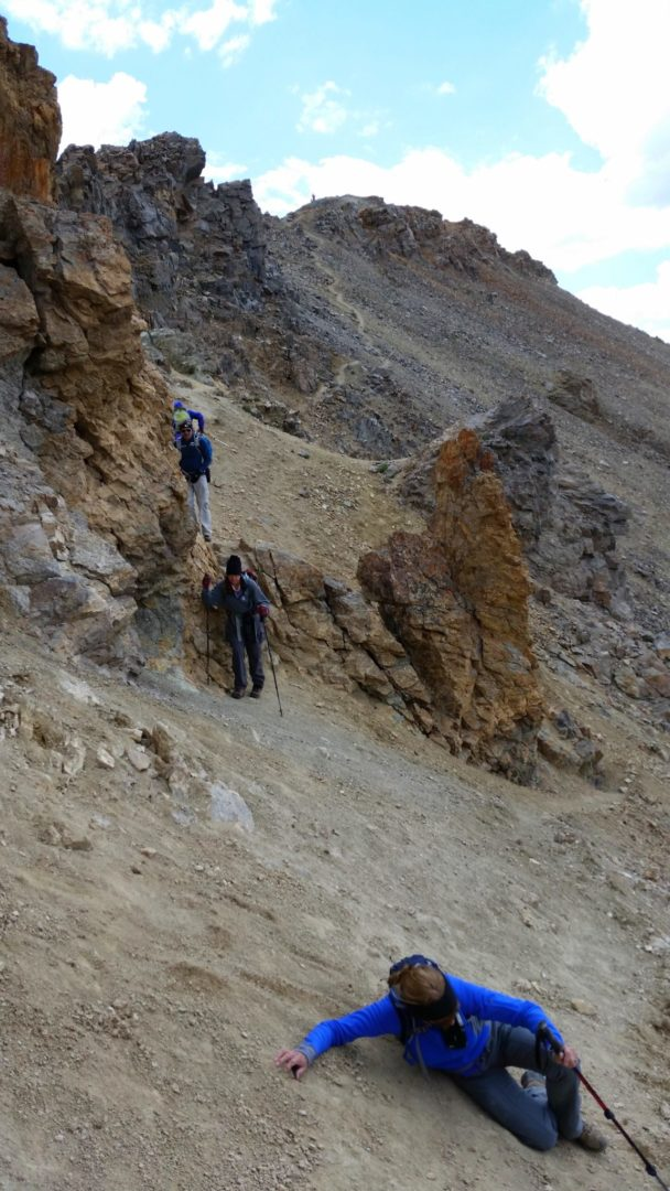 The crux of the route near the summit