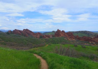 Winding through red rock formations