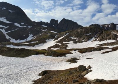 Lingering snow during the summer