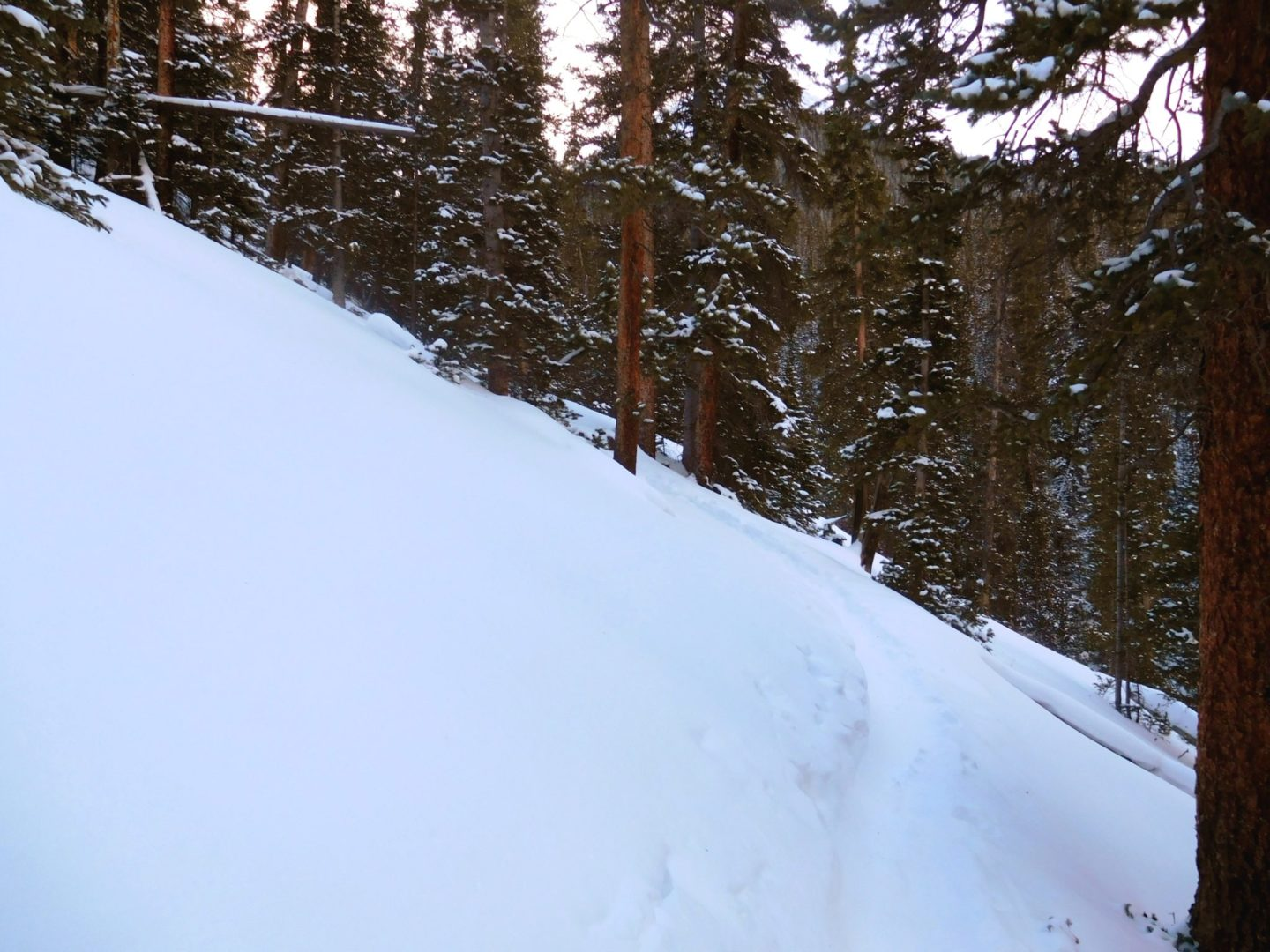 Deep snow and slow going