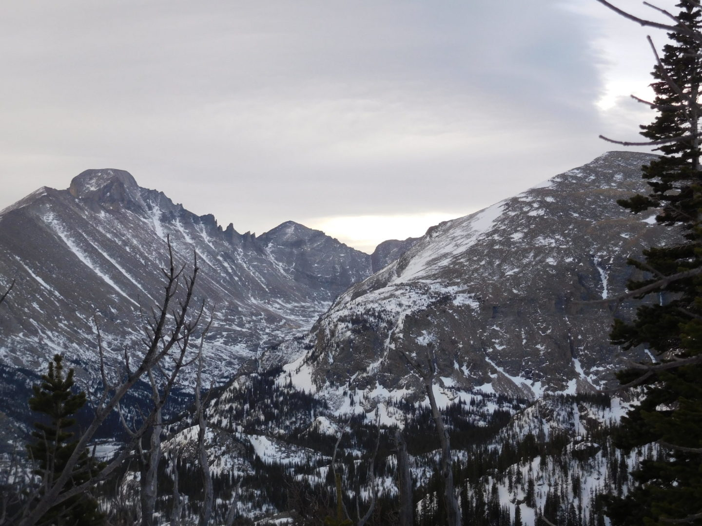 Longs Peak (left) and Thatchtop Mountain on the right