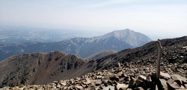West Spanish Peak summit with East Spanish Peak in the distance