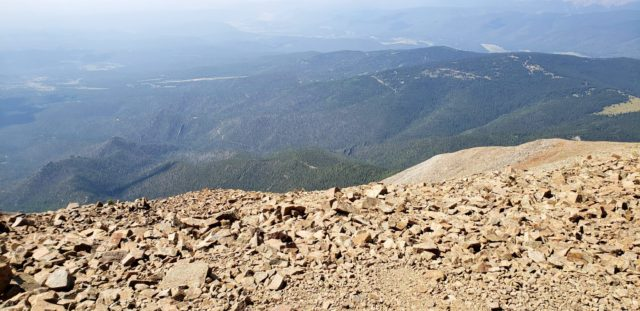 The trail flattens out near the summit