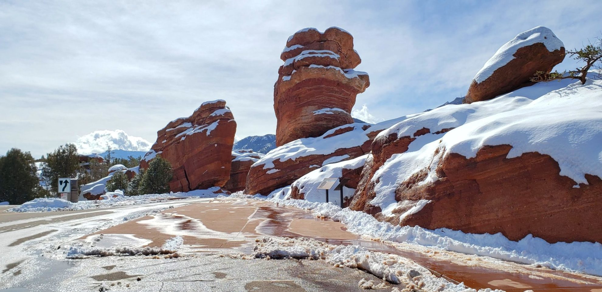 Steamboat Rock on left and Balanced Rock in the middle