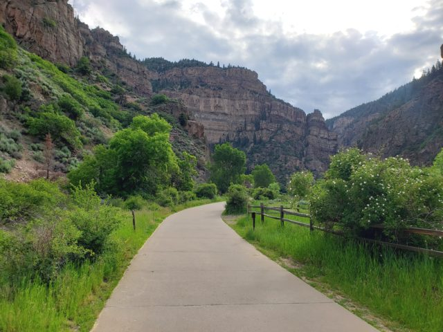 The hike starts following the Glenwood Canyon Recreation Path for a couple hundred yards along the Colorado River