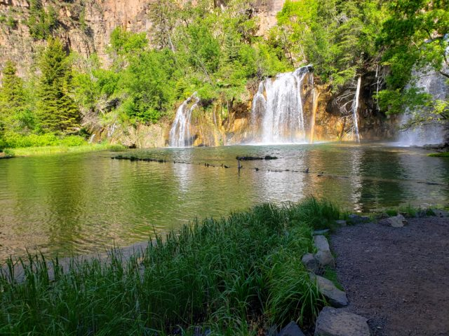 Bridal Falls falling into Hanging Lake