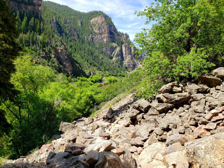 View of train tracks along the Colorado River