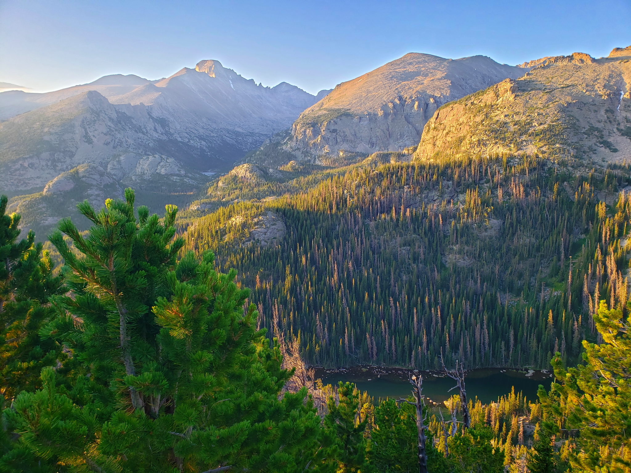 Dream Lake with Longs Peak (left of center) and Thatchtop Mountain.