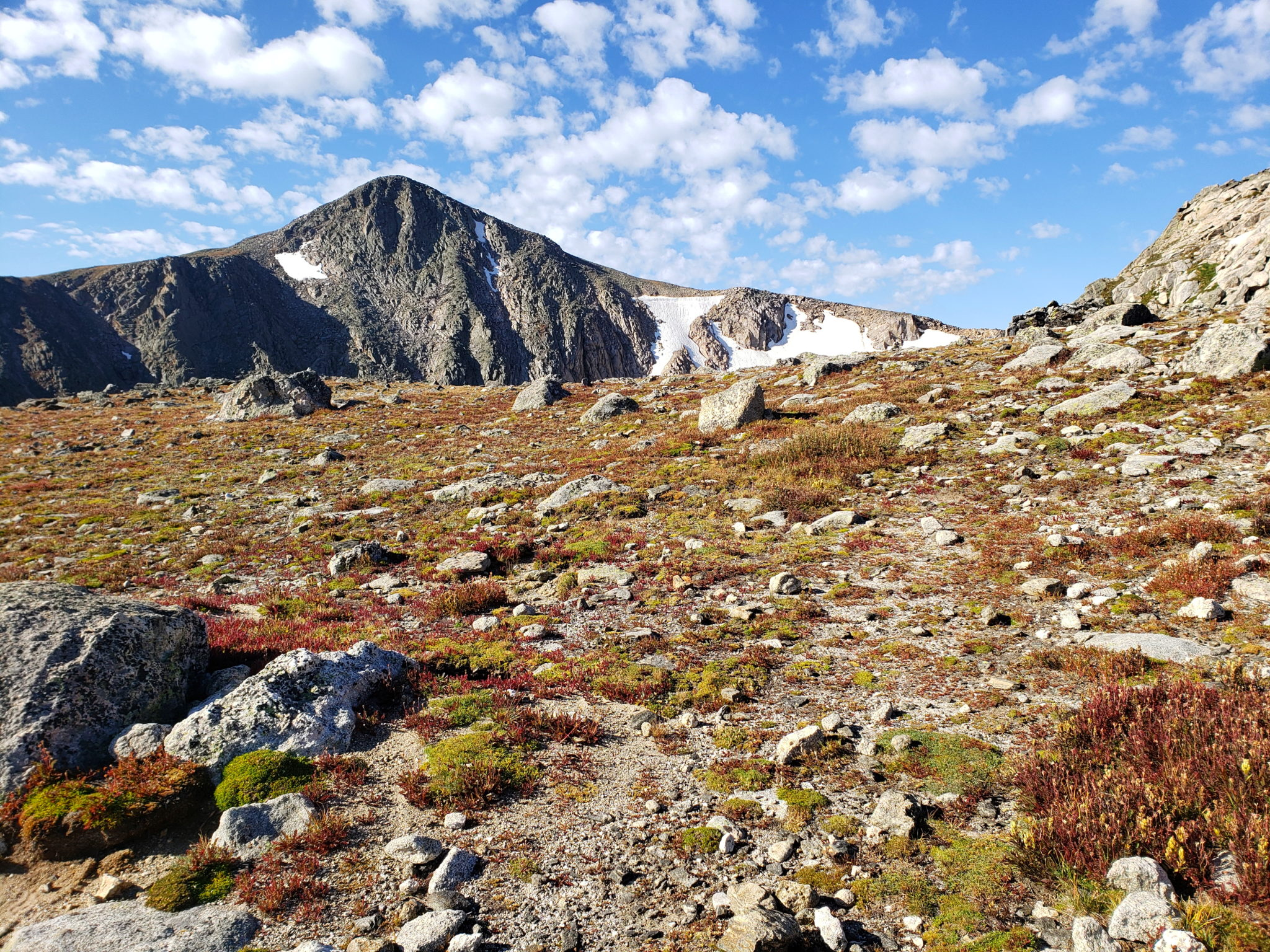 Hallett Peak looks very different up here