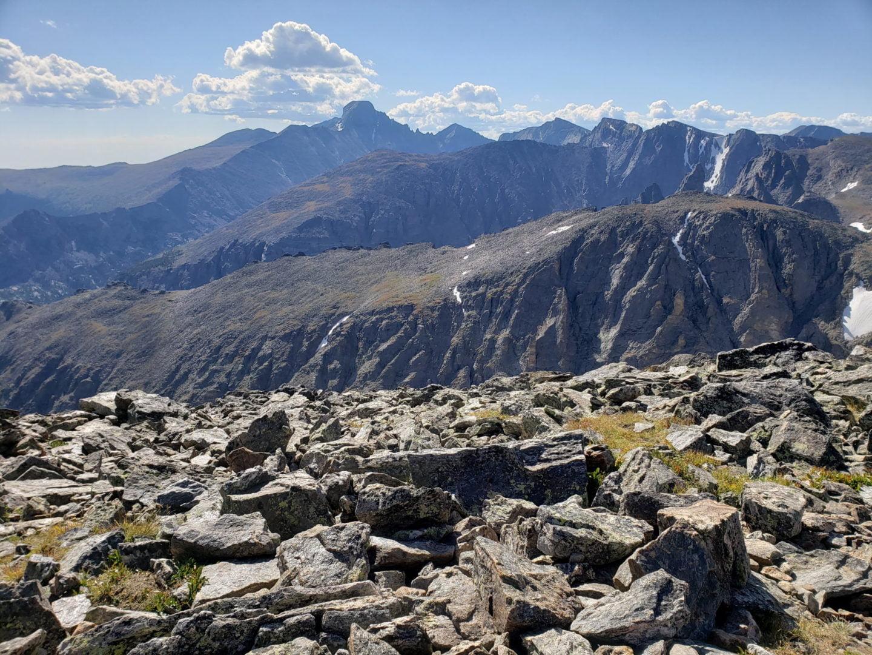 View of Longs Peak from the summit of Hallett Peak