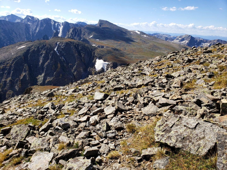 View of Otis and Taylor Peak from the Hallett Peak summit