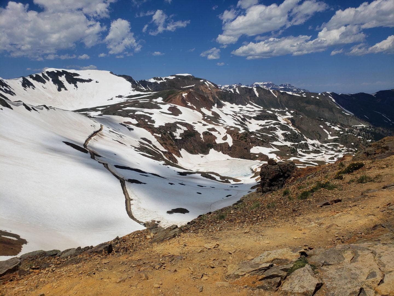 View toward Hurricane Pass from California Pass, with frozen Como Lake below