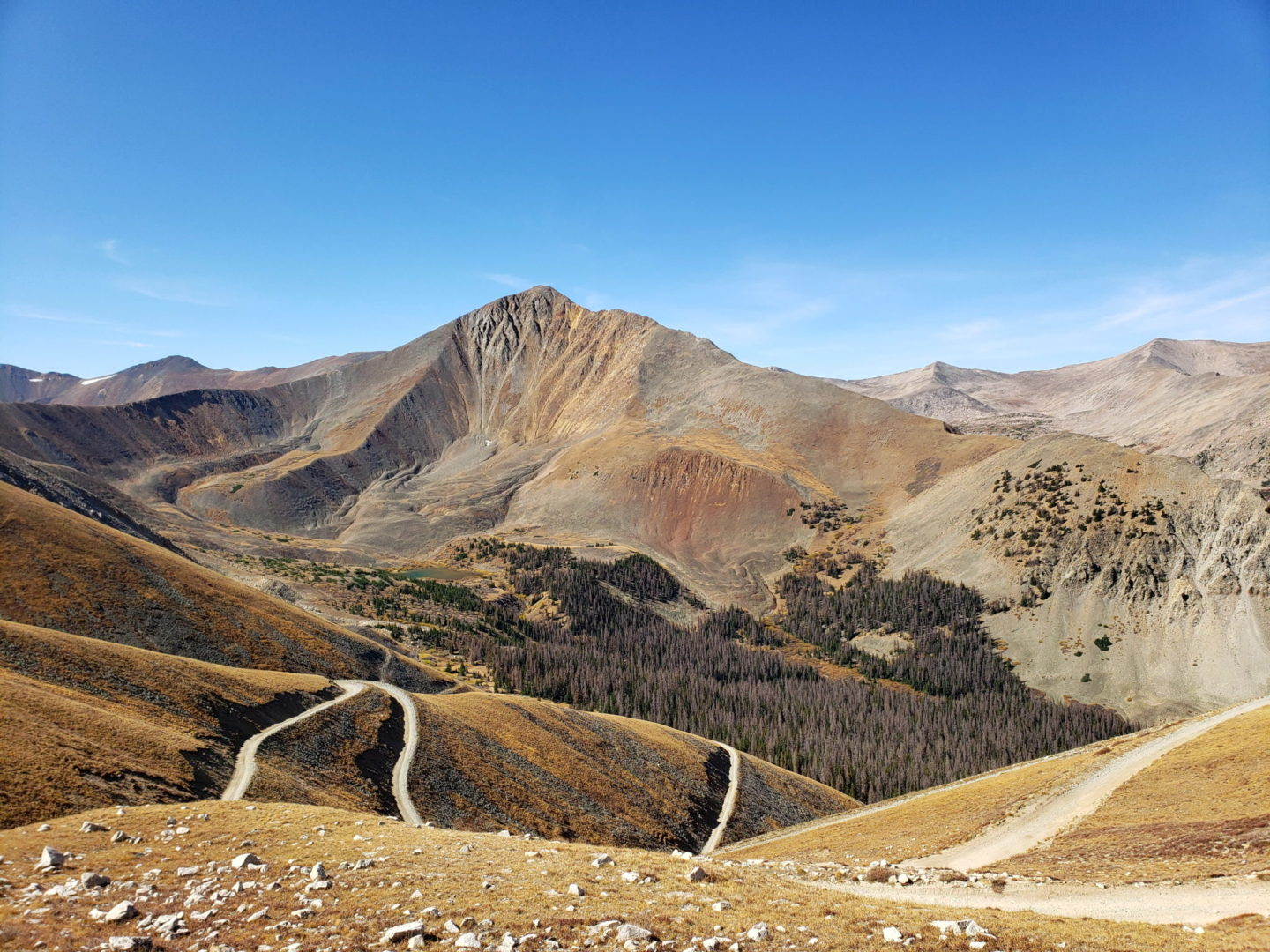 Road 277 winding up the side of Mt Antero