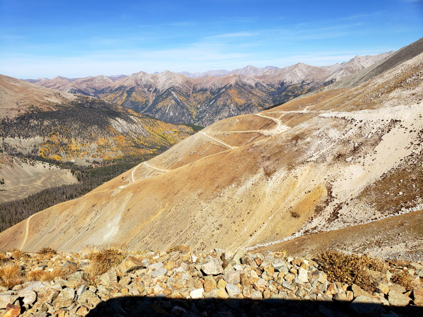 Steep switchbacks on the west side of Mt Antero