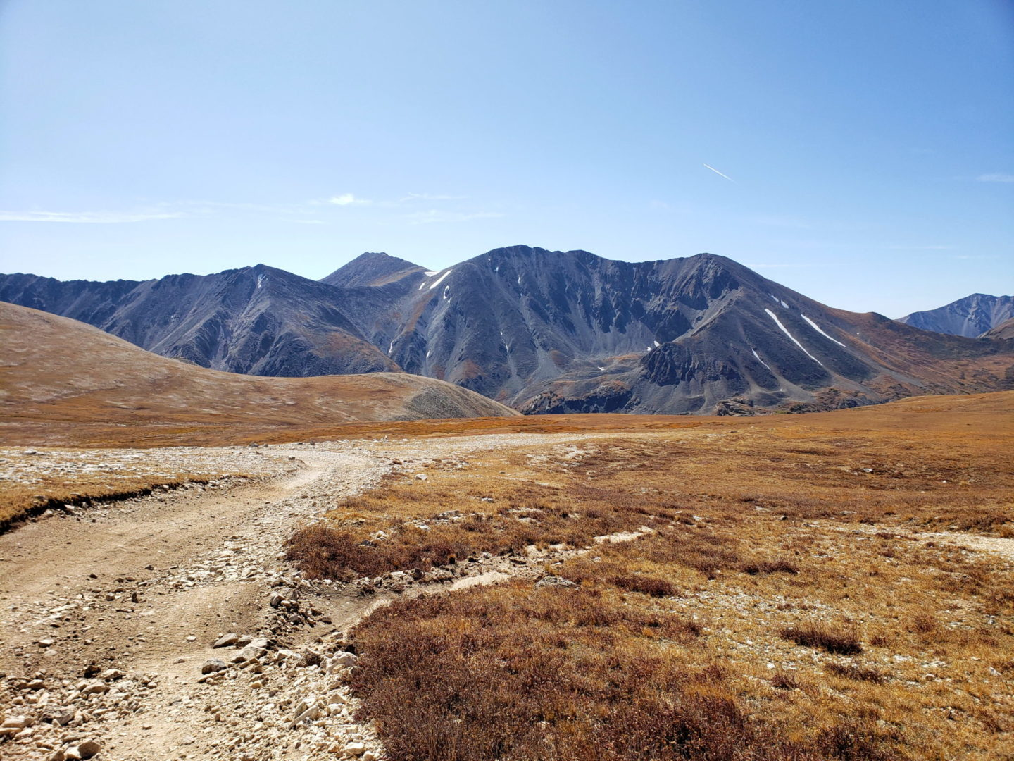 Mt Shavano (14,229') in back and Tabeguache (14,155') right of center