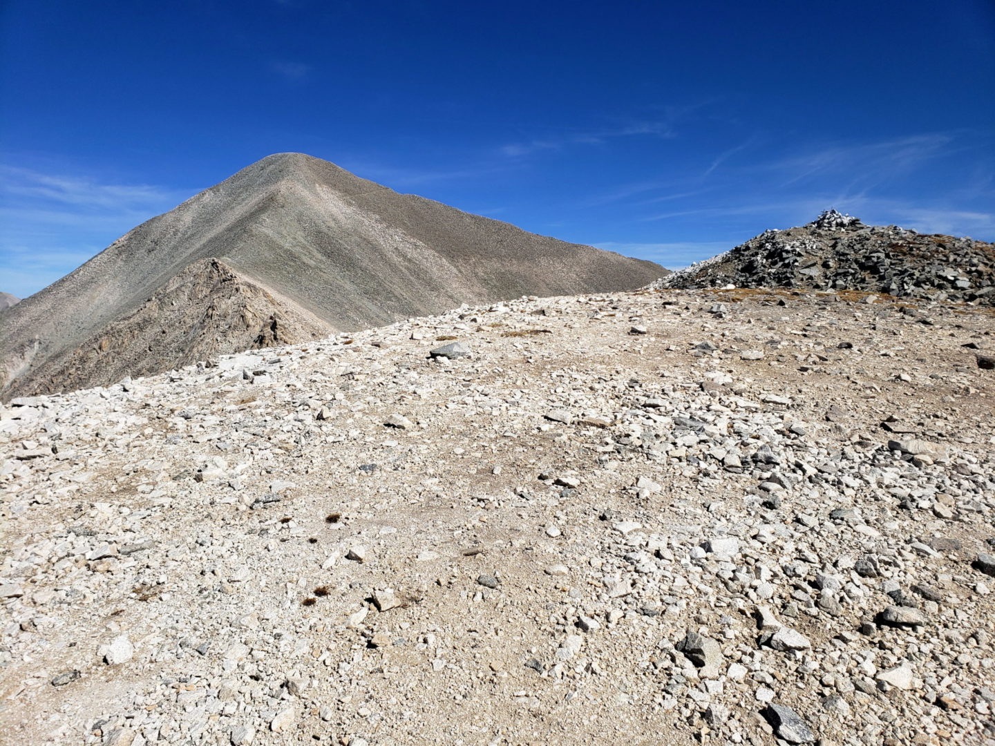 "At 13,800"" looking at the summit of Mt Antero"