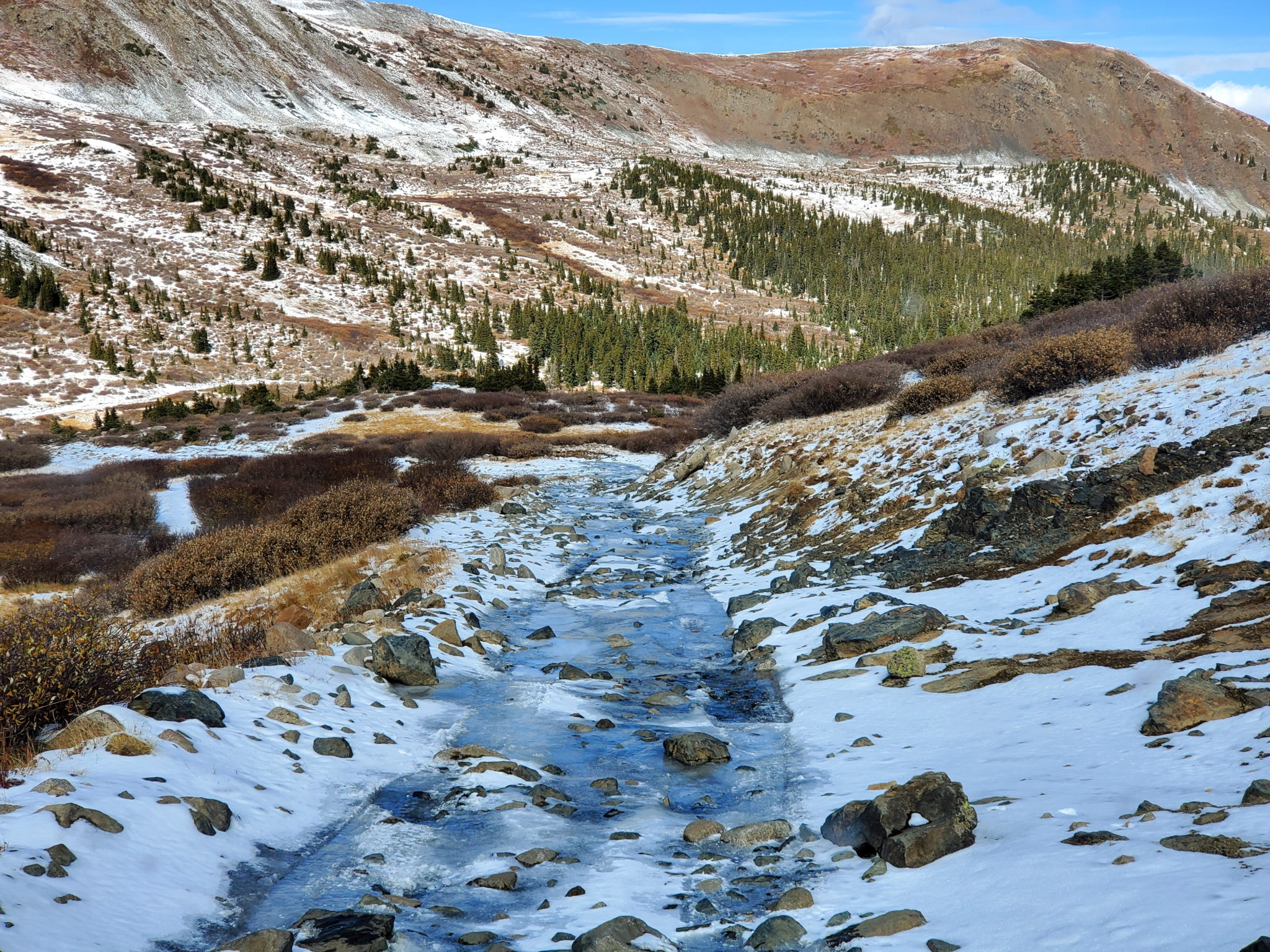 Unexpected ice as the road gets steep descending Tincup Pass