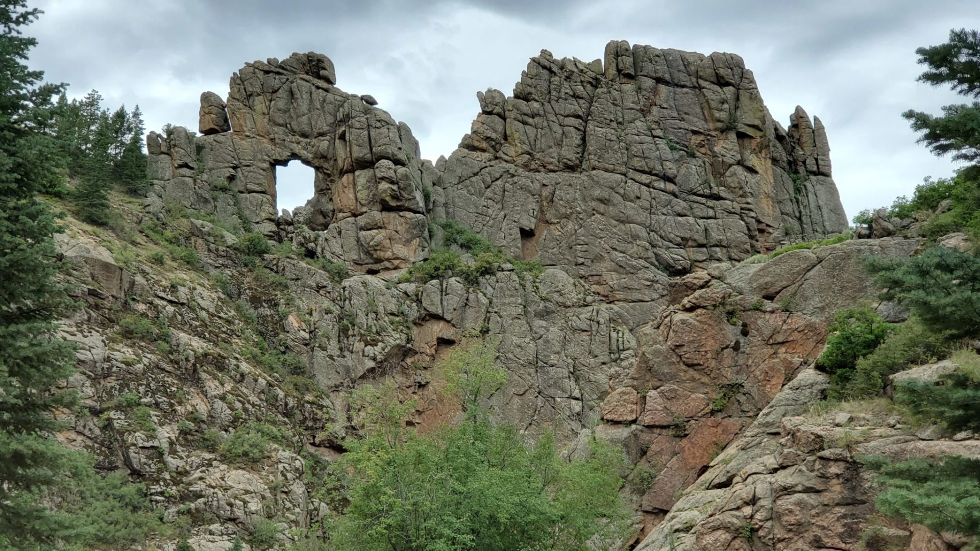 The Window rock formation near the road