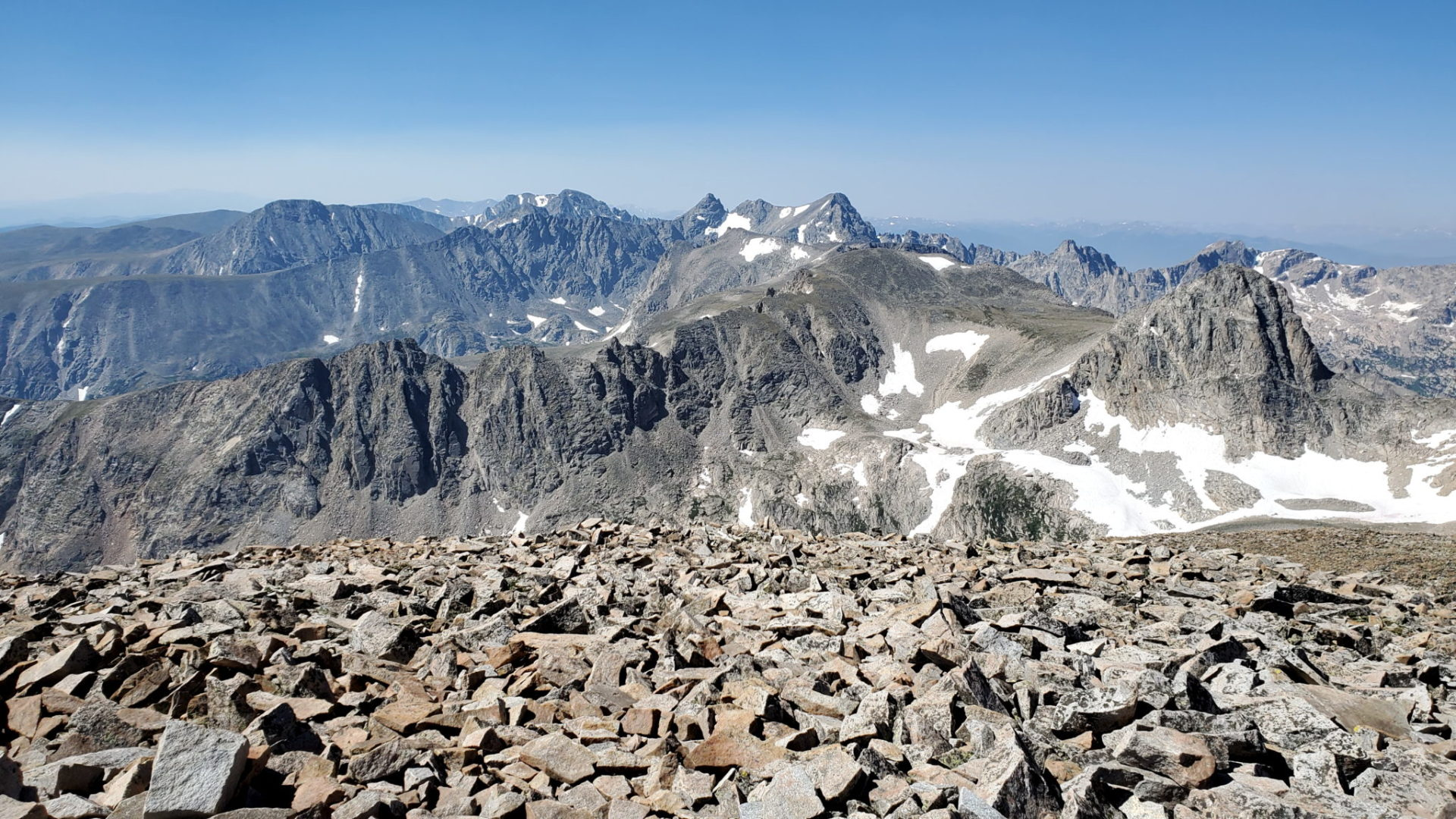 View into the Indian Peaks Wilderness from the summit