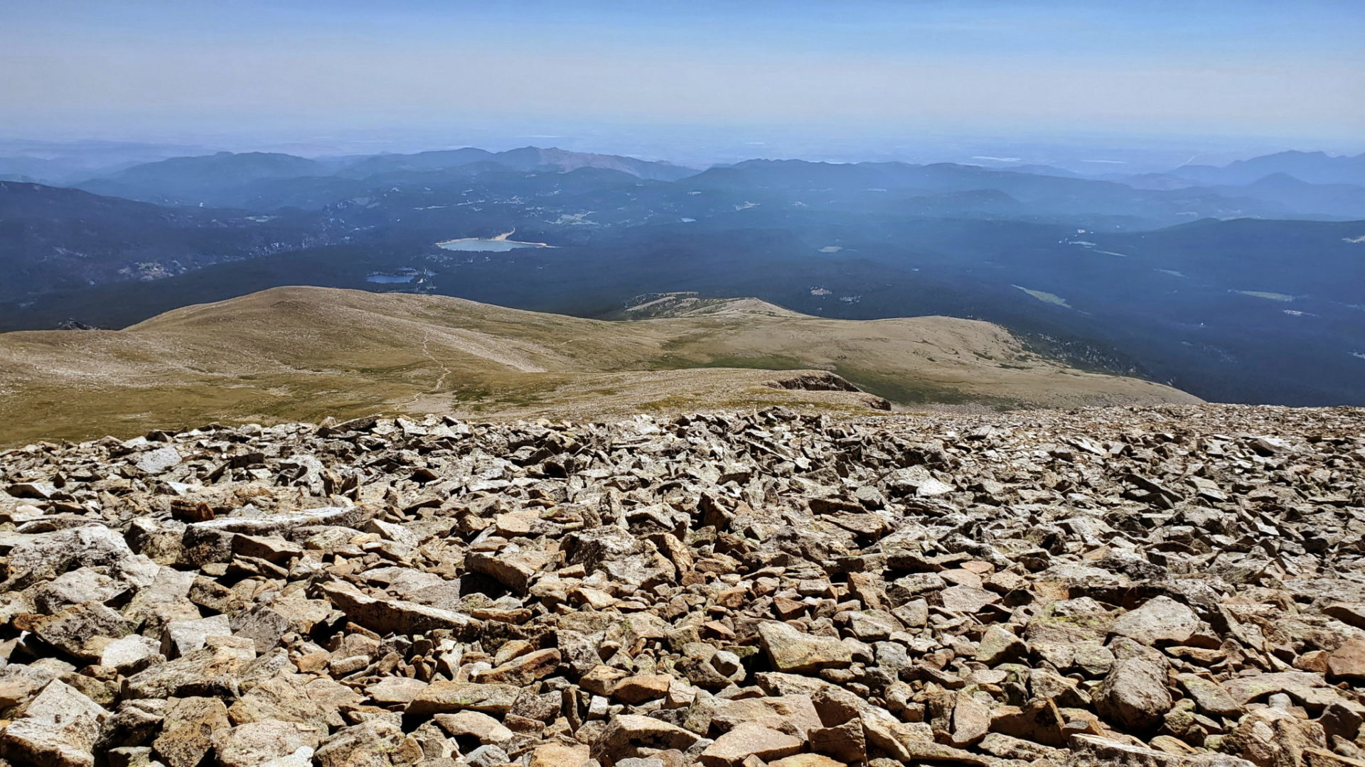 Views east from the summit with haze from wildfires