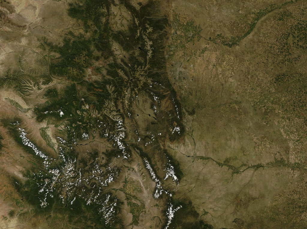 Colorado summer satellite view courtesy of the USGS
